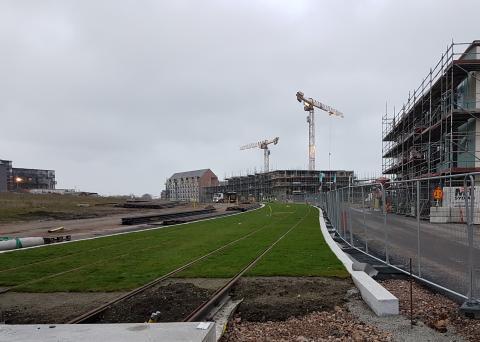 Bygge av en spårväg i Lund